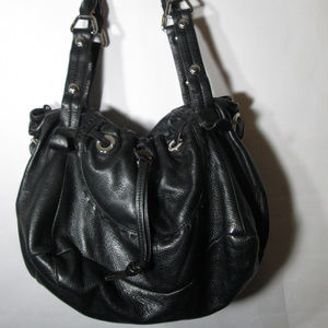 B. MAKOWSKY BLACK PEBBLE LEATHER 2 POCKET BAG